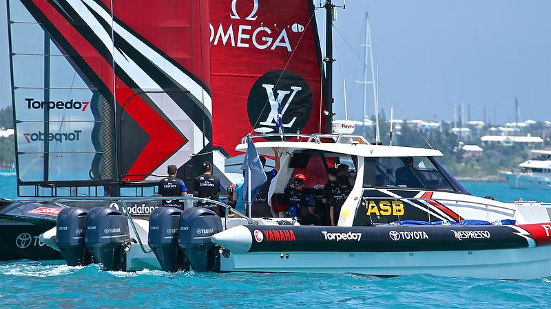 Emirates Team New Zealand' tender pulls alongside after the race. The Measurement representative can just be seen in the aqua colored shirt - Round Robin 2, Day 4 - 35th America's Cup - Bermuda May 30, 2017 - photo © Richard Gladwell