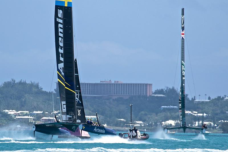 Artemis racing chasing Land Rover BAR, Race 3, Round Robin2, America's Cup Qualifier - Day 4, May 30, 2017 - photo © Richard Gladwell