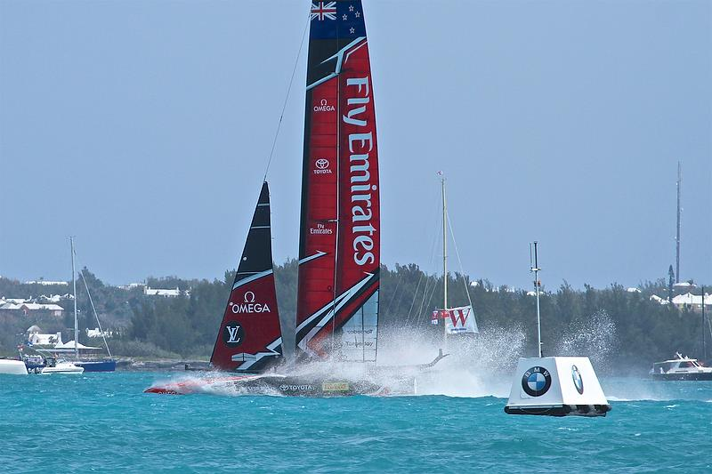Emirates Team New Zealand comes of the foils setting up for sideslipping to get into the Royal Dockyard after Race 10 - Round Robin2, America's Cup Qualifier - Day 7, June 2, 2017 (ADT) - photo © Richard Gladwell
