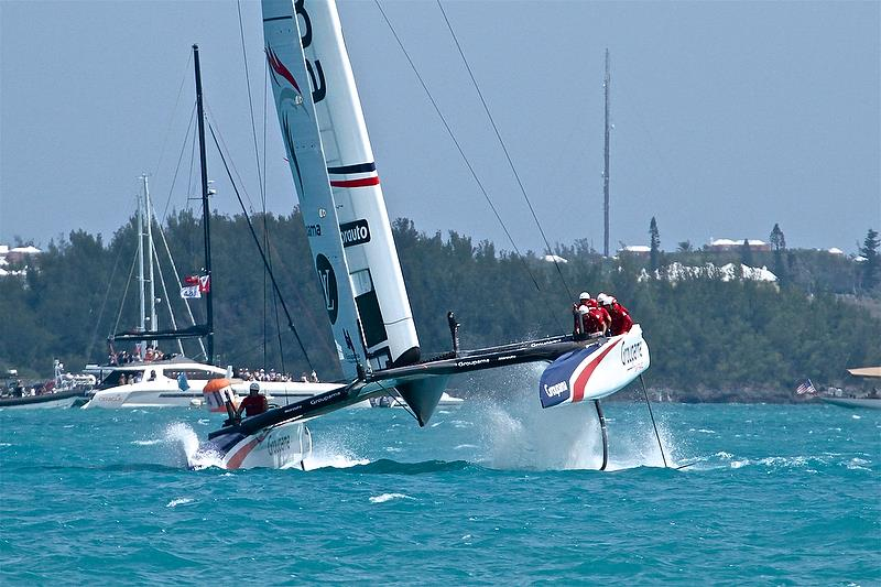 Groupama Team France comes within an ace of a full nosedive as her windward rudder aileron begins to clear the water releasing 800kg of downward thrust - Leg 4 - Race 10 - Round Robin 2, Day 7 - 35th America's Cup - Bermuda June 1, 2017 - photo © Richard Gladwell