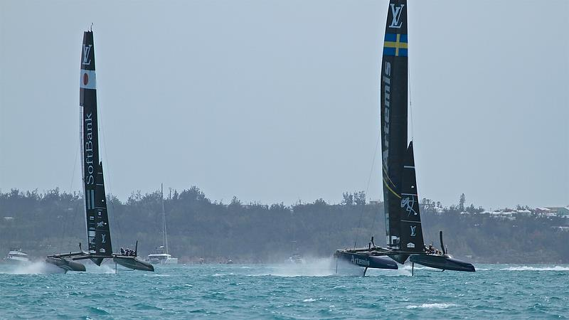 Softbank Team Japan chases Artemis Racing, Leg 4 - Race 11 - Round Robin2, America's Cup Qualifier - Day 7, June 2, 2017 (ADT) - photo © Richard Gladwell