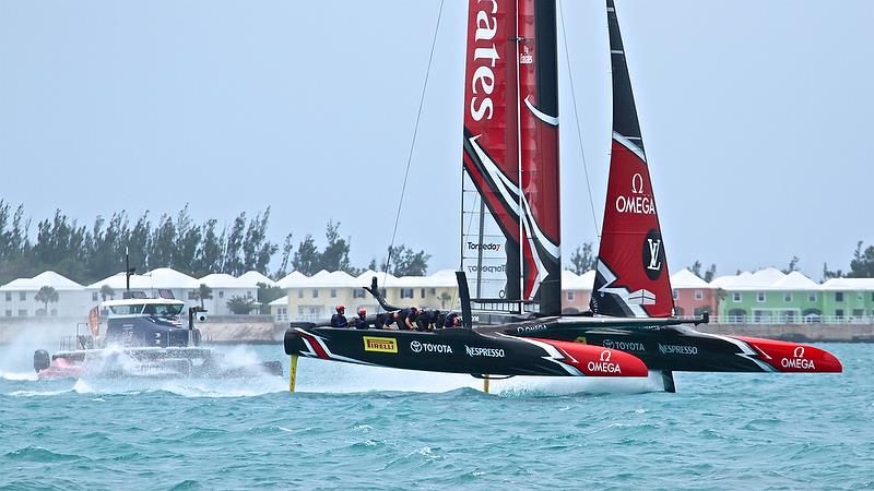 Emirates Team NZ overtakes the camera boat on Leg 1 Round Robin2, America's Cup Qualifier - Day 7, June 2, 2017 (ADT) - photo © Richard Gladwell