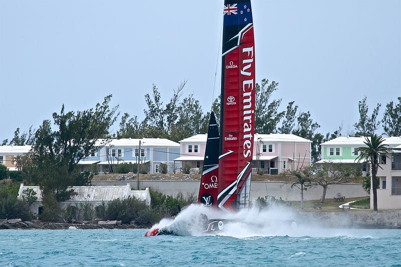 Emirates Team New Zealand does a victory splash - Race 8 - Round Robin 2, Day 7 - 35th America's Cup - Bermuda June 2, 2017 - photo © Richard Gladwell