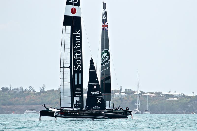 Softbank Team Japan and Land Rover BAR cross upwind Leg 4 - Race 13 - Round Robin 2, Day 8 - 35th America's Cup - Bermuda June 3, 2017 photo copyright Richard Gladwell taken at  and featuring the AC50 class