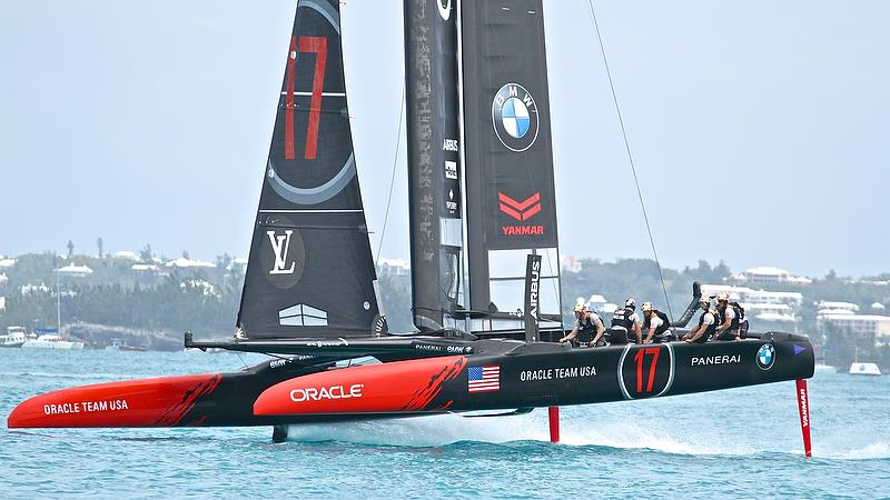 Oracle Team USA closes in on Mark 6 - race 12 - Round Robin2, America's Cup Qualifier - Day 8, June 3, 2017 (ADT) photo copyright Richard Gladwell taken at  and featuring the AC50 class