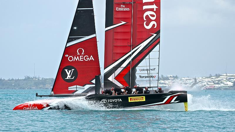 Emirates Team New Zealand finish race 12 with a splash for the spectators - Round Robin2, America's Cup Qualifier - Day 8, June 3, 2017 (ADT) photo copyright Richard Gladwell taken at  and featuring the AC50 class