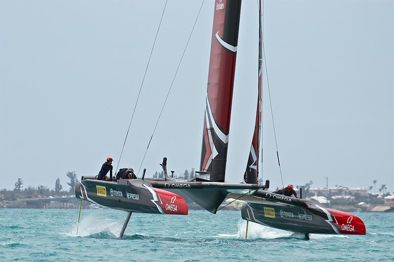 Emirates Team New Zealand turns into a gybe - Race 12 - Round Robin2, America's Cup Qualifier - Day 8, June 3, 2017 (ADT) photo copyright Richard Gladwell taken at  and featuring the AC50 class