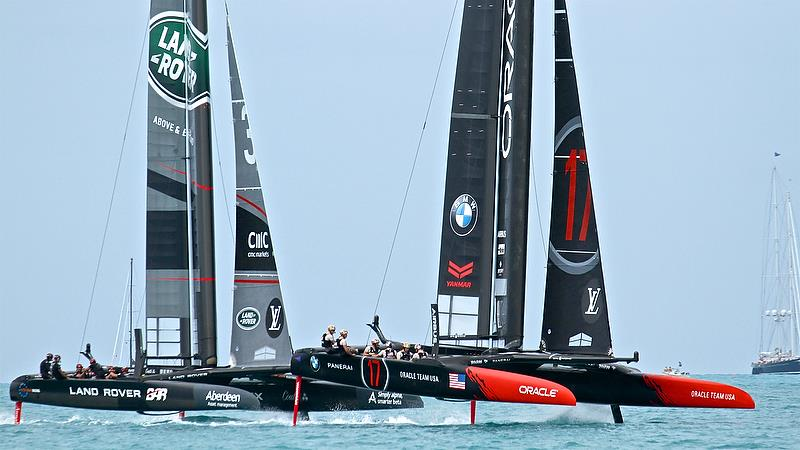 Oracle era USA leads Land Rovee BAR - Race 15 - Leg 2Round Robin2, America's Cup Qualifier - Day 8, June 3, 2017 (ADT) - photo © Richard Gladwell