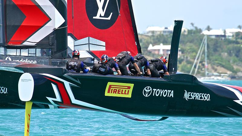 Emirates Team New Zealand before the start of race 1 - Semi-Finals, America's Cup Playoffs- Day 10, June 5, 2017 (ADT) - photo © Richard Gladwell