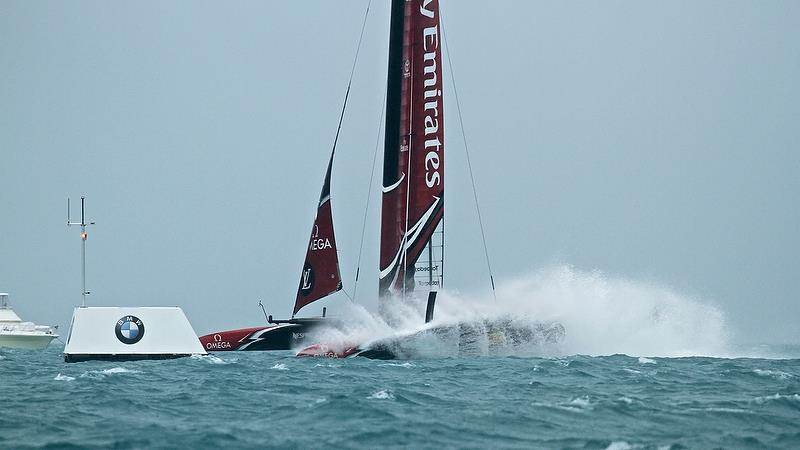 Emirates Team New Zealand leads Land Rover BAR at Mark 4 - Race 3 - Semi-Finals, America's Cup Playoffs- Day 11, June 6, 2017 (ADT) - photo © Richard Gladwell