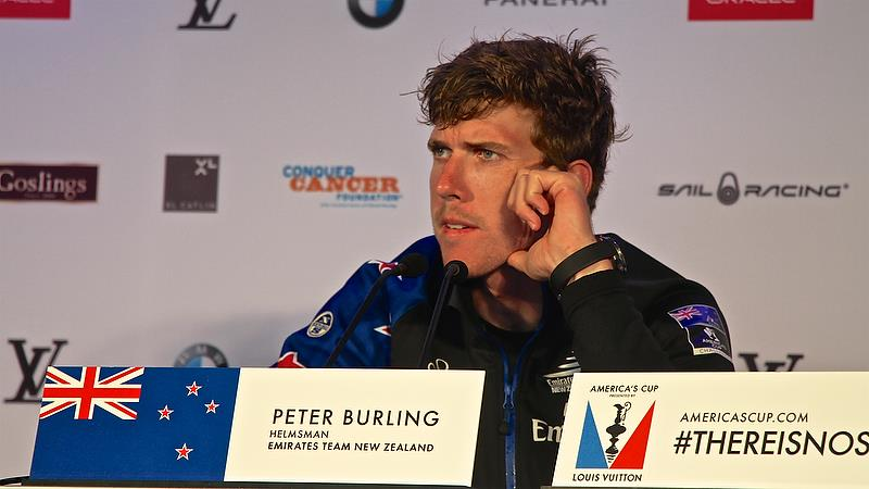 Emirates Team New Zealand - Peter Burling answers media questions after Race 4 - Semi-Finals, America's Cup Playoffs- Day 11, June 6, 2017 (ADT) - photo © Richard Gladwell