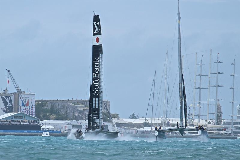 Softbank Team Japan leads Artemis Racing - Leg 2 - Semi-Finals, America's Cup Playoffs- Day 11, June 6, 2017 (ADT) - photo © Richard Gladwell