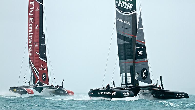 Land Rover BAR leads ETNZ Leg 2 - Race 3 - Semi-Finals, Day 11 - 35th America's Cup - Bermuda June 6, 2017 - photo © Richard Gladwell