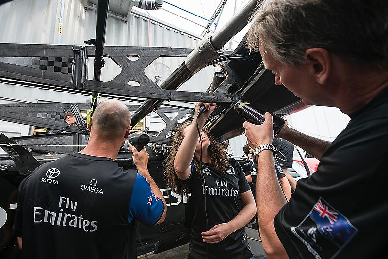 Wingsail damage Emirates Team New Zealand's nosedive - June 6, 2018. Semi-Final 4, America's Cup Playoffs. photo copyright Richard Hodder / ETNZ taken at  and featuring the AC50 class
