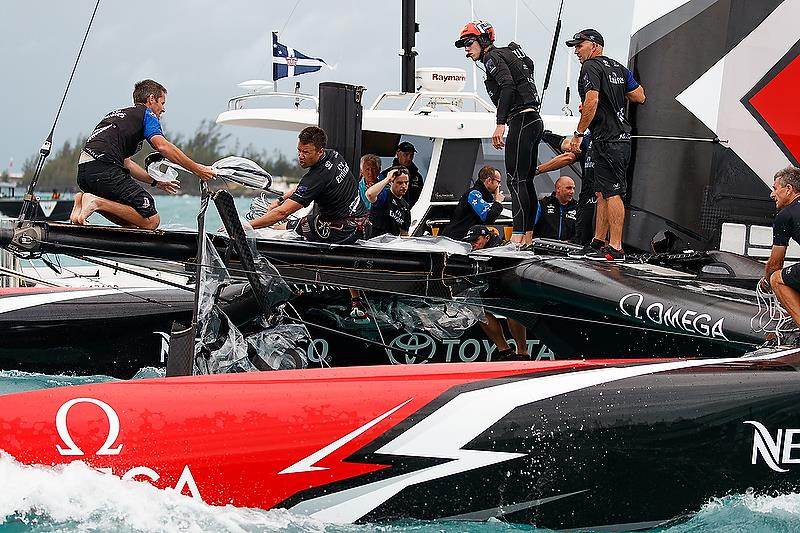 Inspecting the extent of damage - Emirates Team New Zealand's nosedive - June 6, 2018. Semi-Final 4, America's Cup Playoffs. - photo © Richard Hodder