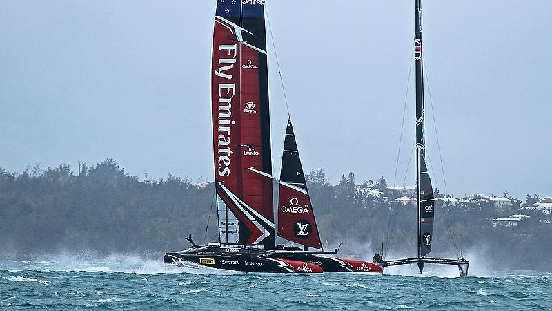 Emirates Team New Zealand - engages with Land Rover BAR - Race 4 - Semi-Finals, America's Cup Playoffs- Day 11, June 6, 2017 (ADT) photo copyright Richard Gladwell taken at  and featuring the AC50 class
