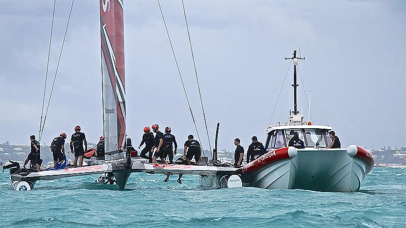 Emirates Team New Zealand - recovery - the chase boat is lashed alongside ready for side-slipping - Race 4 - Semi-Finals, America's Cup Playoffs- Day 11, June 6, 2017 (ADT) - photo © Richard Gladwell
