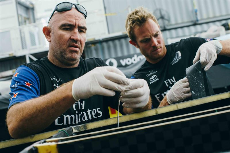 Emirates Team New Zealand repair the AC50, rebuild a wingsail and reconstruct the cross beam fairings - June 6-7, 2017 - photo © Emirates Team New Zealand