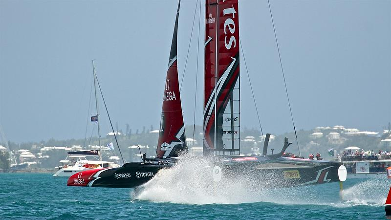 Emirates Team New Zealand gives chase at the start of Leg 4 - Race 5 -Semi-Finals, America's Cup Playoffs- Day 12, June 8, 2017 (ADT) photo copyright Richard Gladwell taken at  and featuring the AC50 class