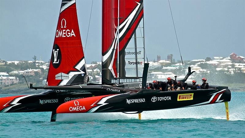 Emirates team New Zealand heads for the finish line - 26 sec ahead of Land Rover BAR - Leg 6 - Race 5 - Semi-Finals, America's Cup Playoffs- Day 12, June 8, 2017 (ADT) photo copyright Richard Gladwell taken at  and featuring the AC50 class