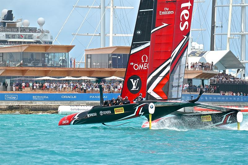 Emirates Team New Zealand crosses the finish line in Race 5  - Semi-Finals, America's Cup Playoffs- Day 12, June 8, 2017 (ADT) - photo © Richard Gladwell
