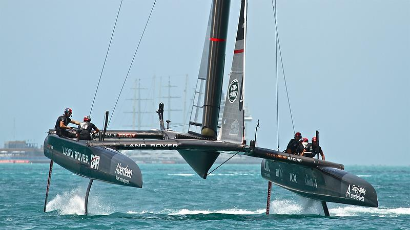 Land Rover BAR completes a foiling tack - Leg 3 Semi-Finals, America's Cup Playoffs- Day 12, June 8, 2017 (ADT) photo copyright Richard Gladwell taken at  and featuring the AC50 class