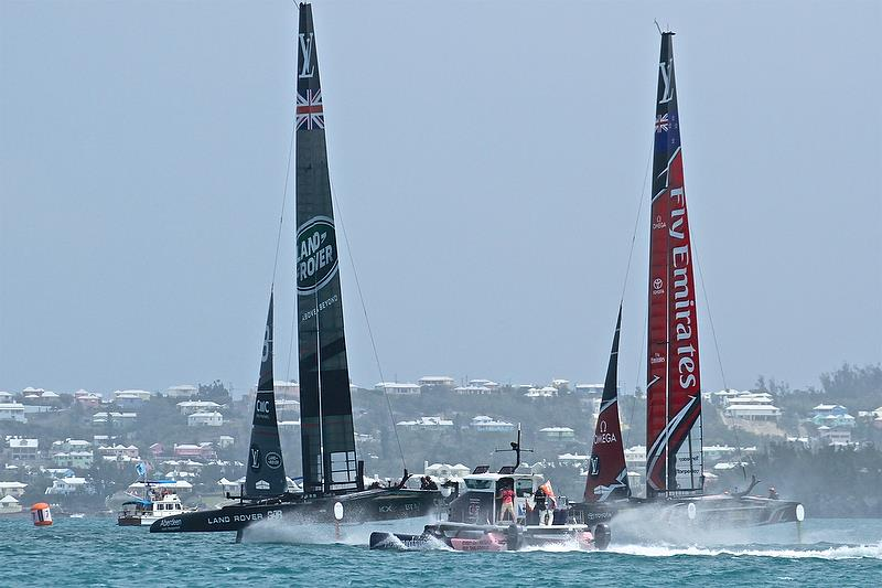 Emirates Team New Zealand and Land Rover BAR on Leg 1 - race 6 - Semi-Finals, America's Cup Playoffs- Day 12, June 8, 2017 (ADT) photo copyright Richard Gladwell taken at  and featuring the AC50 class