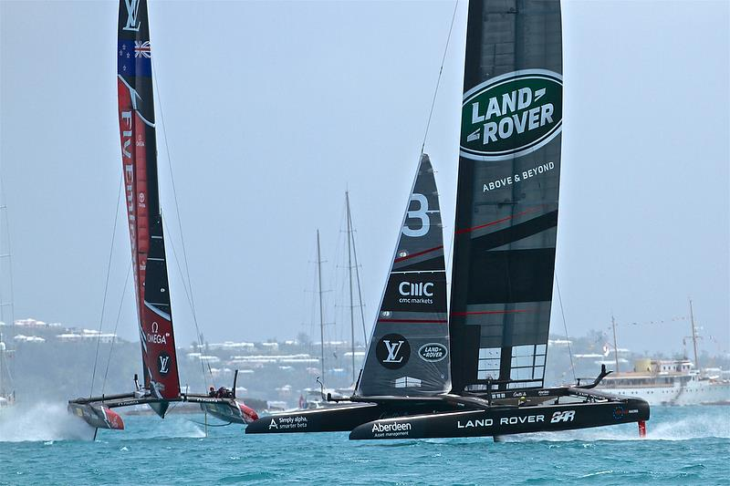 Land Rover BAR leads Emirates Team New on Leg 4 - Race 6 - Semi-Finals, America's Cup Playoffs- Day 12, June 8, 2017 (ADT) photo copyright Richard Gladwell taken at  and featuring the AC50 class