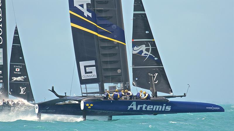Artemis Racing and SoftBank Team Japan - Leg 1 - Semi-Finals, America's Cup Playoffs- Day 13, June 9, 2017 (ADT) - photo © Richard Gladwell
