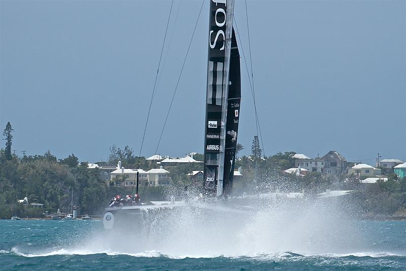 Softbank Team Japan - emerges from a nosedive - race 8 - Leg 4 - Semi-Final, Day 13 - 35th America's Cup - Bermuda June 9, 2017 - photo © Richard Gladwell