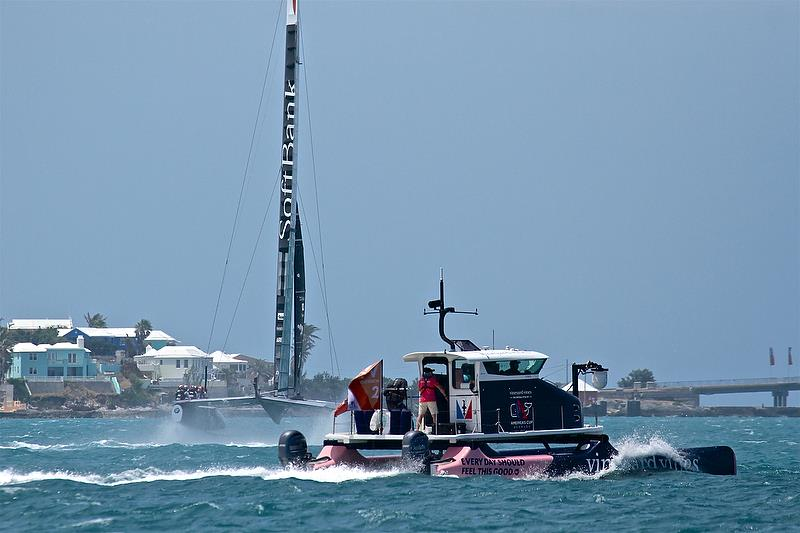 Softbank Team Japan and TV camera boat - Leg 4 -Race 8 - Semi-Finals, America's Cup Playoffs- Day 13, June 9, 2017 (ADT) - photo © Richard Gladwell