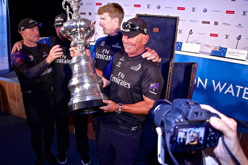 Grant Dalton, Peter Burling and Glenn Ashby at the America's Cup Media Conference, Bermuda June 26, 2017 - photo © Richard Gladwell