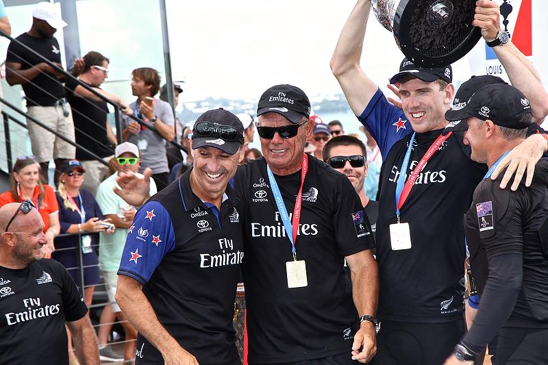Kevin Shoebridge, Grant Dalton, Peter Burling and Glenn Ashby at the America's Cup Presentation, Bermuda June 26, 2017 - photo © Richard Gladwell