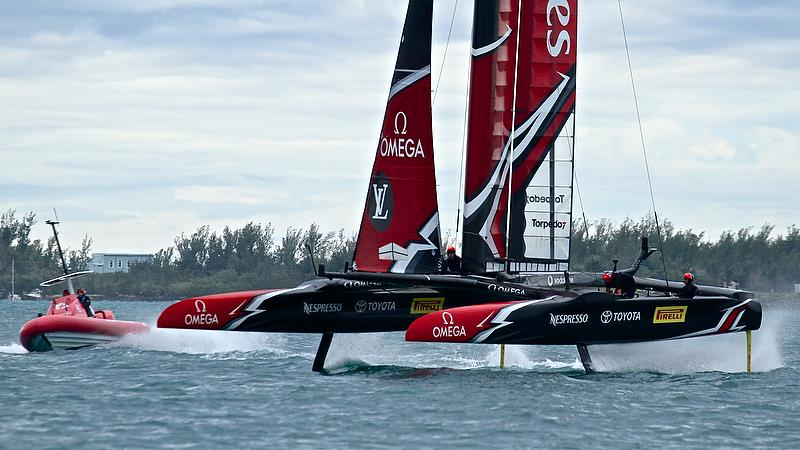 Emirates Team New Zealand exits a foiling tack - Race 4 - Finals, America's Cup Playoffs- Day 15, June 11, 2017 (ADT) - photo © Richard Gladwell
