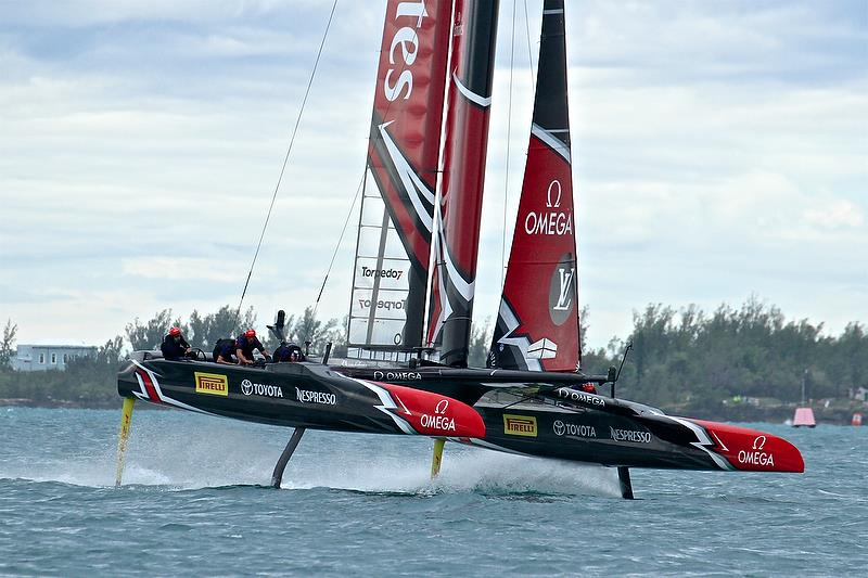 Emirates Team New Zealand starts a foiling tack - Race 4 - Finals, America's Cup Playoffs- Day 15, June 11, 2017 (ADT) - photo © Richard Gladwell