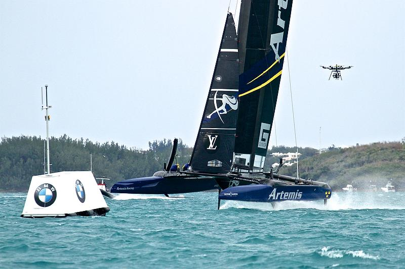 Drone over Artemis Racing - Leg 4, Race 4 - Challenger Finals, Day 15 - 35th America's Cup - Bermuda June 11, 2017 photo copyright Richard Gladwell taken at  and featuring the AC50 class
