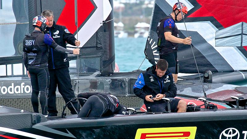 Peter Burling head down - Repairs after Race 4 - Finals, America's Cup Playoffs- Day 15, June 11, 2017 (ADT) photo copyright Richard Gladwell taken at  and featuring the AC50 class