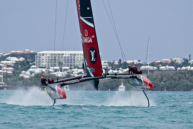 Emirates Team New Zealand sets up for a`no-look` gybe - Leg 4 - Race 5 - Finals, America's Cup Playoffs- Day 15, June 11, 2017 (ADT) - photo © Richard Gladwell