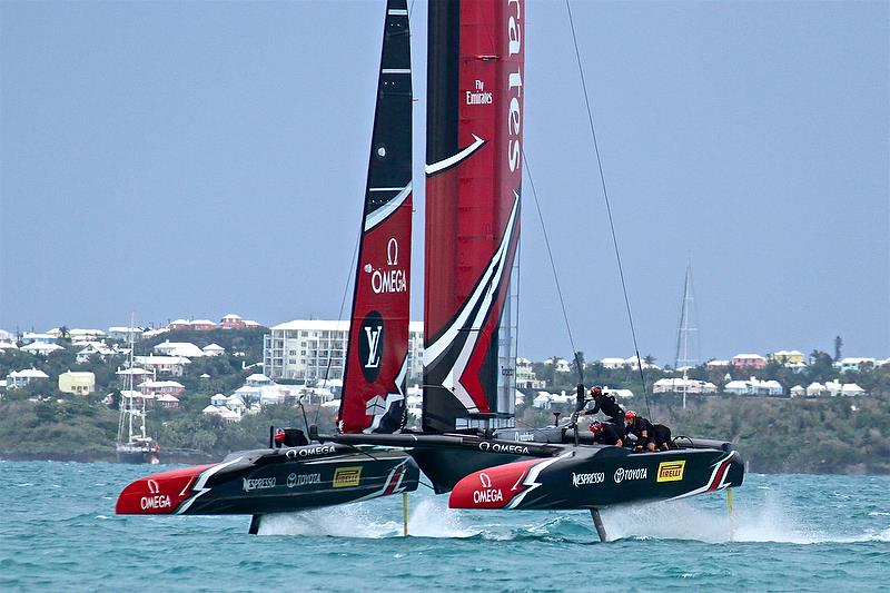 Foiling Gybe - Emirates Team New Zealand - Leg 4 - Race 5 - Finals, America's Cup Playoffs- Day 15, June 11, 2017 (ADT) - photo © Richard Gladwell