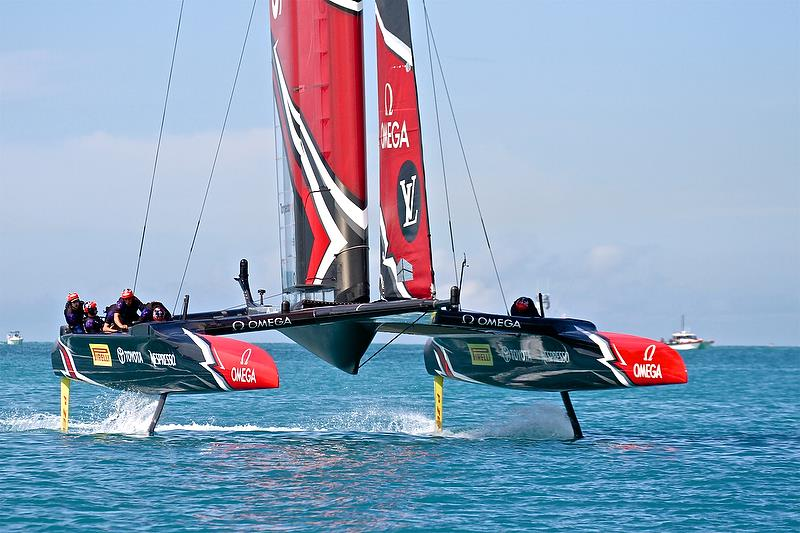 Emirates Team New Zealand does a low speed foiling tack - Race 7 - Finals, America's Cup Playoffs- Day 15, June 12, 2017 (ADT) - photo © Richard Gladwell