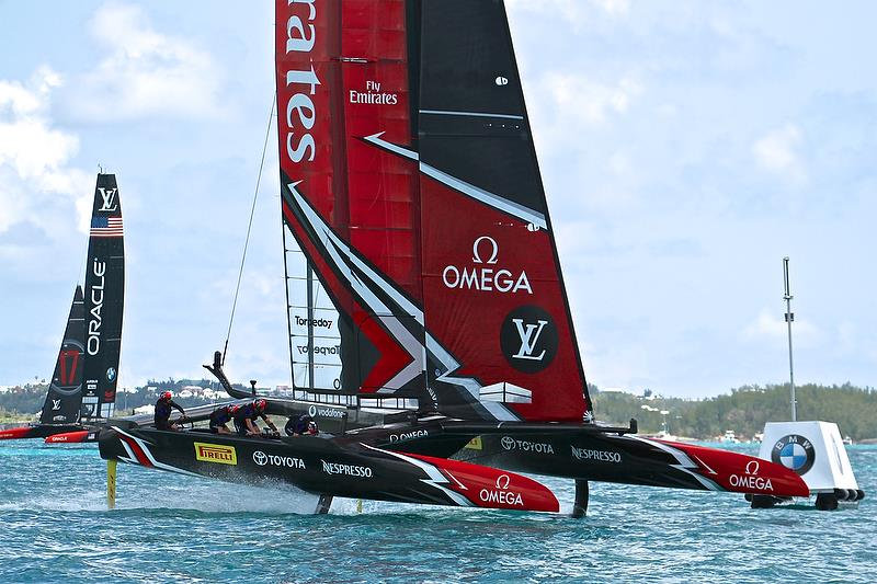 Emirates Team New Zealand is well ahead at the finish of Race 1- America's Cup 35th Match - Match Day1 - Regatta Day 17, June 17, 2017 (ADT) - photo © Richard Gladwell