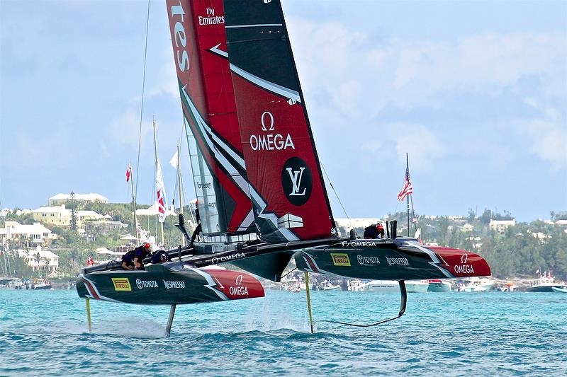Emirates Team New Zealand shows her light air foils - 35th America's Cup Match - Bermuda June 17, 2017 - photo © Richard Gladwell