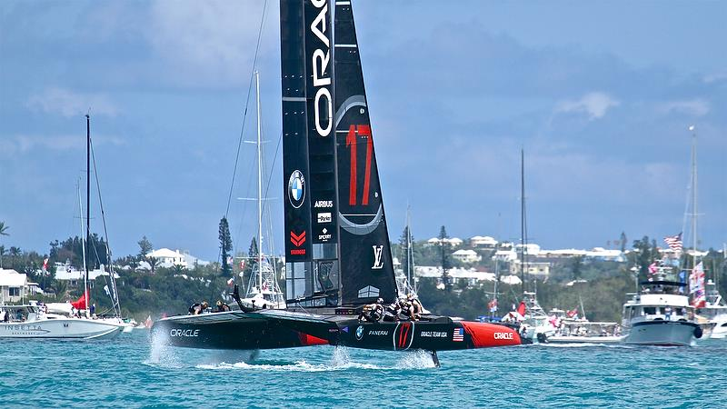 Oracle trails on Leg 4, Race 2 - America's Cup 35th Match - Match Day1 - Regatta Day 17, June 17, 2017 (ADT) - photo © Richard Gladwell