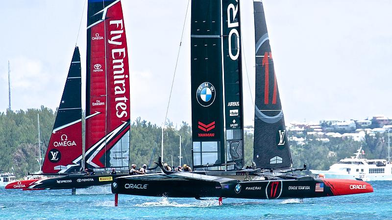Emirates Team New Zealand comfortably ahead on Leg 3 - Race 2 - America's Cup 35th Match - Match Day1 - Regatta Day 17, June 17, 2017 (ADT) - photo © Richard Gladwell
