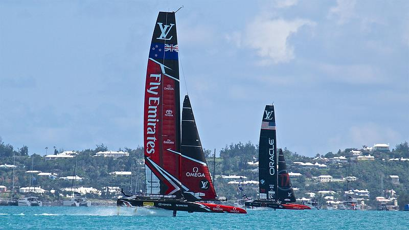 Emirates Team New Zealand is a long way ahead of Oracle Team USA on Leg 6 - Race 2 - 35th America's Cup Match - Bermuda June 17, 2017 - photo © Richard Gladwell