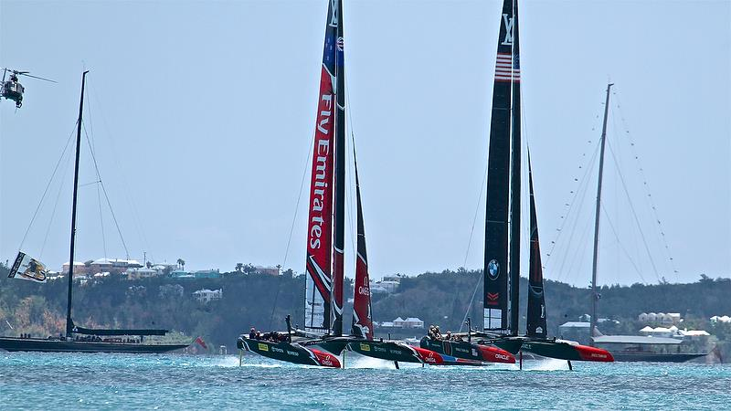 Bookended by two J- Class, Emirates Team New Zealand Oracle Team USA contest the start of Race 2 - America's Cup 35th Match - Match Day1 - Regatta Day 17, June 17, 2017 (ADT) photo copyright Richard Gladwell taken at  and featuring the AC50 class