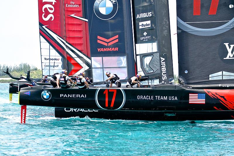 Emirates Team New Zealand and Oracle Team USA - leg 1- 35th America's Cup Match - Start Race 1 - Bermuda June 17, 2017 - photo © Richard Gladwell