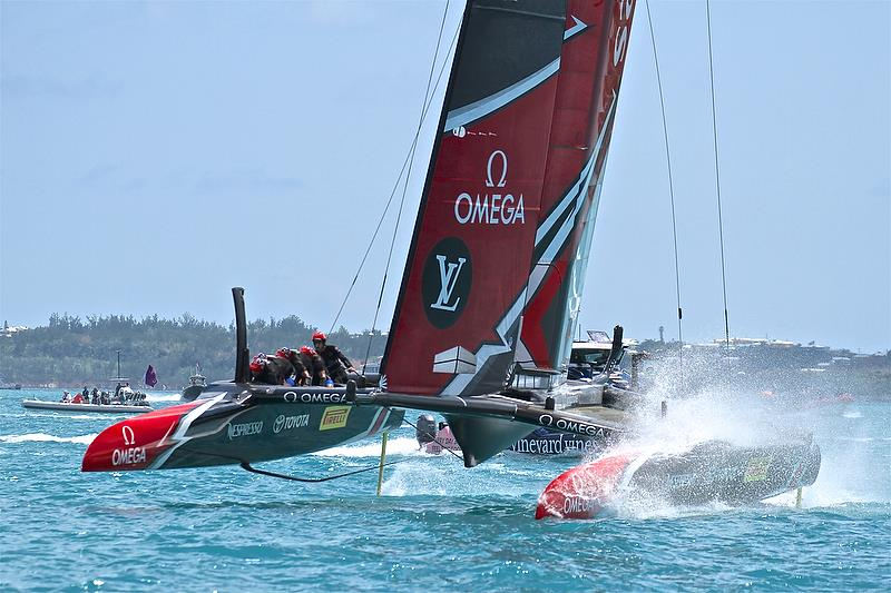 Emirates Team New Zealand finishes Race 2 - 35th America's Cup Match - Bermuda June 17, 2017 - photo © Richard Gladwell