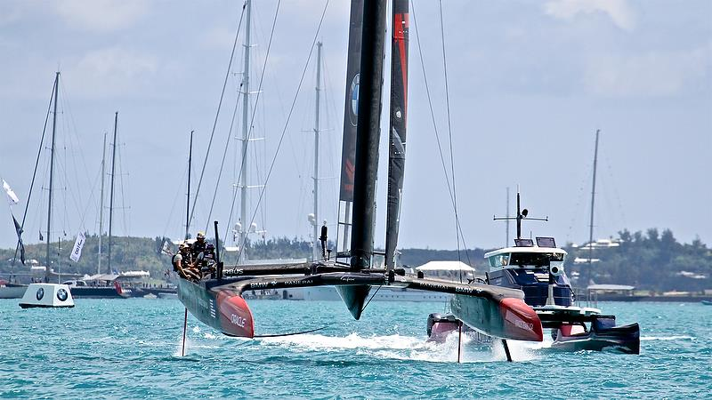 Oracle Team USA heads for the finish of Race 2 - America's Cup 35th Match - Match Day1 - Regatta Day 17, June 17, 2017 (ADT) - photo © Richard Gladwell