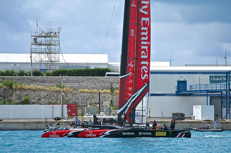 Emirates Team New Zealand is sideslipped to her base, with the tower of the International Broadcast Centre behind - America's Cup 35th Match - Match Day1 - Regatta Day 17, June 17, 2017 (ADT) - photo © Richard Gladwell